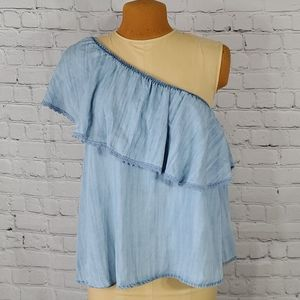Altar'D State Chambray One Shoulder Shirt